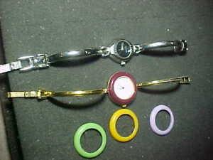 2 GUCCI Change Bezel & OTHER Quartz Ladies Wristwatch Watch Bracelet