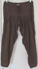Anokhi 100% Organic Cotton Harem Salwar Pants Front Tie Brown Women's Size S