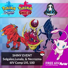 Shiny Event Solgaleo, Lunala, & Necrozma + MEW [FAST] for Pokemon Sword & Shield
