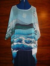 100% silk georette floaty kaftan/tunic  Hiroshige's Sea off Satta  S/M  NEW