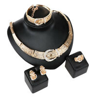 Fashion Women Gold/Silver Plated Crystal Necklace Bangle Earring Jewelry Sets