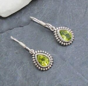 Peridot grün Tropfen Hippie Ohrringe Ohrhänger Hänger 925 Sterling Silber neu