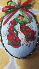 """COMPLETED FINISHED CROSS STITCH ORNAMENT Red """"Angel on high"""" Dimensions"""