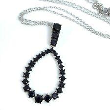 Black Spinel & Sterling Silver Pendant & Chain JTV DOCW131