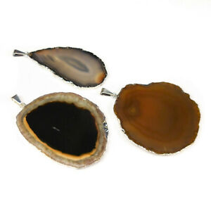 Agate Slice Pendant Lot (Set of 3) Silver Crystal Slabs Jewelry Collection R33B