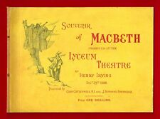 "Henry Irving ""MACBETH"" Ellen Terry / Opening Night 1888 London Souvenir Program"