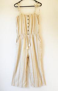 Ripcurl Brown & White Striped Jumpsuit Size L Sleeveless Elastic Waist Beach