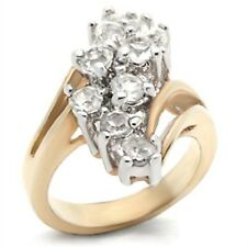 18K GOLD EP 2.0CT DIAMOND SIMULATED CLUSTER RING size 5 or J 1/2