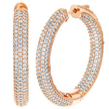 Rose Gold Plated Micro Pave Clear CZ Inside Out Hoop Earrings 1.5""