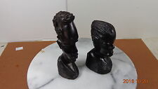 Carved Wood African Heads Man & Woman - Primitive Carvings