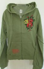 NWT Ed Hardy ** SALE ** Hoodie Army Green Bouquet Yellow / Red Roses Size XS