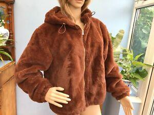 Primark Soft Brown Faux Fur Short Zip Jacket Coat with Hood Size L