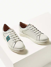 NEW RRP £49.99 Ex Marks and Spencer White Leather Lace-up Shoes