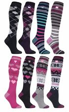 Heat Holders - Ladies Thin Extra Long Knee High 1.6 TOG Patterned Thermal Socks