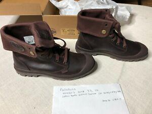 Palladium Burgundy Leather Baggy Pamapa Boots Women's Size 9 1/2