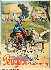 1910 French Advertising Poster for Peugeot Motorcycles 13 x 18 Giclee print