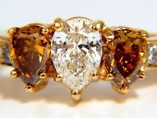 █$17000 2.90Ct Natural Fancy Vivid Yellow Brownish Diamond Pear Shape Ring 18Kt