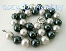 """14mm Gray Black South Sea Shell Pearl Necklace20"""""""