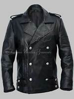 Men's German Naval Military Pea Coat Black Cowhide Genuine Leather Jacket
