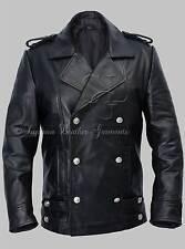 Men's German Naval Military Pea Coat Analine Black Cowhide Real Leather Jacket