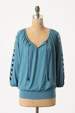 Summer Top Blouse Peasant Casual Work Turquoise Blue Deletta Anthropologie, Sz S