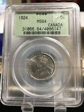 1924  PCGS Graded Canadian,  5 Cent, **MS-64**