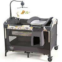 Baby Crib Mobile Bassinet Portable Infant Cradle Playpen Nursery Bed Play Yard