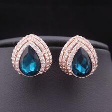 Rose Gold Plated Rhinestone Crystal Partywear Blue Fashion Jewelry Stud Earrings