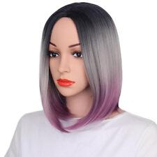 Women Colorful Bobo Short Wigs Synthetic Straight Ombre Hair Wigs Fancy Dress