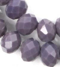 25 Czech Glass Faceted Rondelle Beads - Opaque Amethyst  10mm