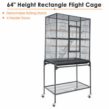 "Rolling 64"" Parrot Bird Cage Cockatiel Parakeet Finch Gym House Perch Stand Vein"