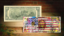 AMERICAN FLAG - ALL LIVES MATTER by RENCY Art Genuine US $2 Bill Signed BANKSY