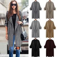 Women's Plus Size Overcoat Open Front Cardigan Trench Coat Duster Jacket Outwear