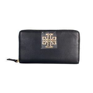 NEW Tory Burch Black Britten Zip Continental Wallet