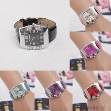 Women Ladies Rhinestone Faux Leather Analog Quartz Dress Wrist Watch Jewelry N20