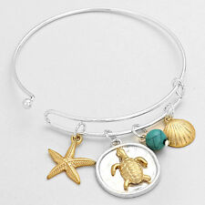 Turtle Bracelet Adjustable Bangle Starfish Shell Charms SILVER Beach Sea Jewelry