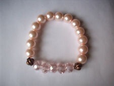 NEW BUY 2 GET 3RD FREE, PINK CRYSTAL, COPPERTONE & GLASS PEARL BRACELET