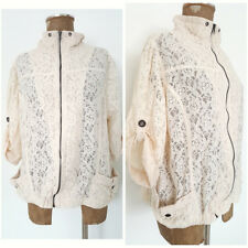 American Rag Cie Lace Jacket Size 2X Plus Ivory Roll Tab Sleeve Zip Up Coat Top