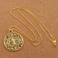 "Saint St Benedict Protection Medal Pendant Necklace Chain Ornate Silver 24"" Box"