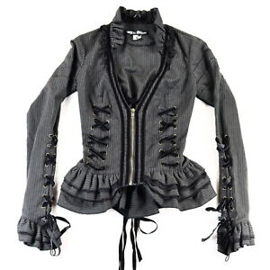 Spin Doctor Florence Jacket Top Corset Steampunk Black Lace up Ruffles Goth Sz S