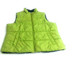 Made for Life Puffer Vest Lime Green Navy Lining Zipper Front Pocket PXL