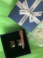 🌺Armani Stylish & Stunning Cufflinks & Tie Clip Set  With Box (Gold-plated)🌺