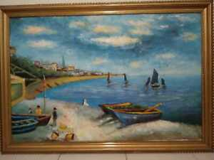 Claude Monet After La Plage de Sainte Oil On Canvas Painting Signed With COA