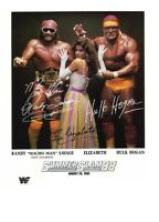 Hulk Hogan Randy Savage & Elizabeth Autograph Pre Print Wrestling 8x6 WWF WCW