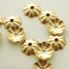 50pcs 5mm Bead Cap 14k yellow Gold Filled flower round disc thin cap GC03