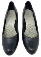 Clarks Cushion Soft Black Court Heel Shoes Round Toe Smart Work Business (3 UK)