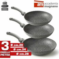 Set 3 Padelle in Pietra Antiaderenti Mineral Stone Accademia Mugnano cm 20-24-28
