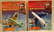 DTE 2 1977 CARD LESNEY MATCHBOX SKYBUSTER SB-8 SPITFIRE & SB-10 BA BOEING 747