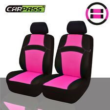 Universal Car Seat Covers Steering Wheel Cover Front Pink For Women Girls Summer