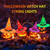 6× Halloween Decorate Hanging Lighted Glowing Witch Hats Outdoor Lantern Light